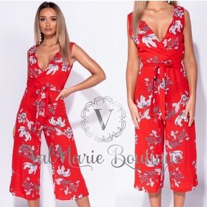Red floral Jumpsuit NWT